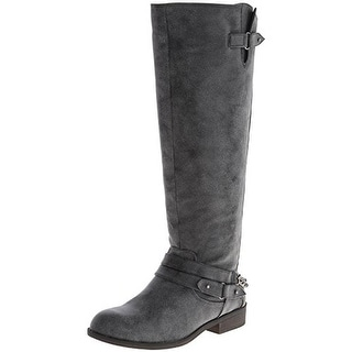 Madden Girl Womens Caanyon Riding Boots Belted Chain Trim
