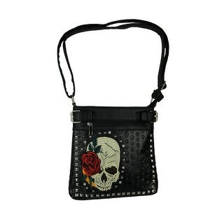 Embroidered and Embossed Skull and Roses Studded Concealed Carry Crossbody Bag