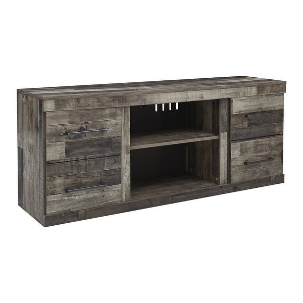 Derekson Casual Large TV Stand w/Fireplace Option, Antique Brass Finish. Opens flyout.