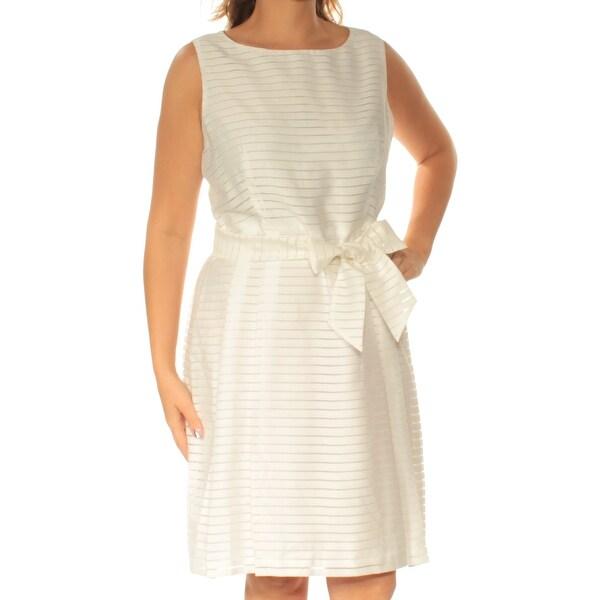 ANNE KLEIN Womens White Sleeveless Jewel Neck Knee Length Fit + Flare Dress Size: 6