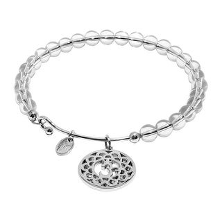 Chrysalis 'Crown' Natural White Crystal Charm Bangle Bracelet in Rhodium-Plated Brass