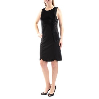 Womens Black Sleeveless Mini Sheath Evening Dress Size: L