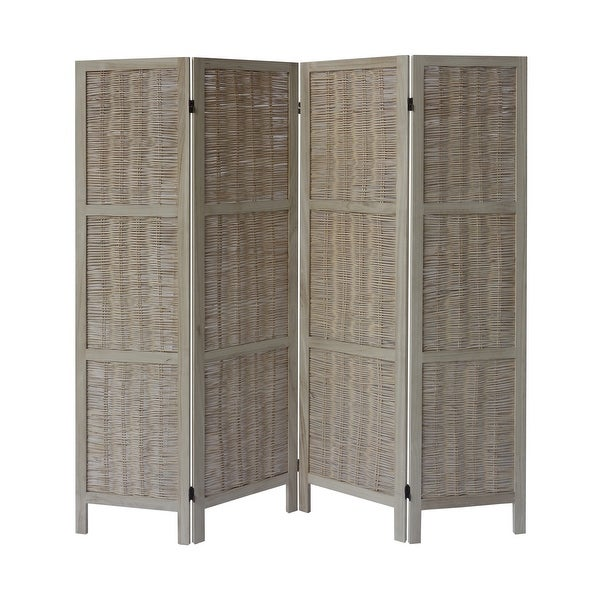 4 Panel Foldable Wooden Divider Privacy Screen with Willow Weaved Design, Antique White. Opens flyout.