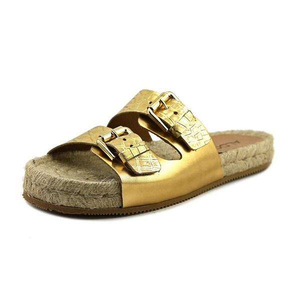 Aldo Dolci Women Open Toe Leather Gold Slides Sandal