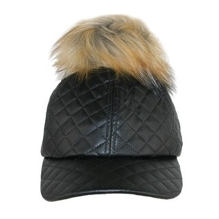 Pia Rossini Women's Quilted PU Cap with Faux Fur Detachable Pom Pom