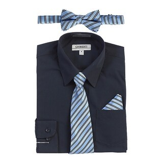 Gioberti Little Boys Navy Shirt Necktie Bow Tie Pocket Square 4 Pc Set 7