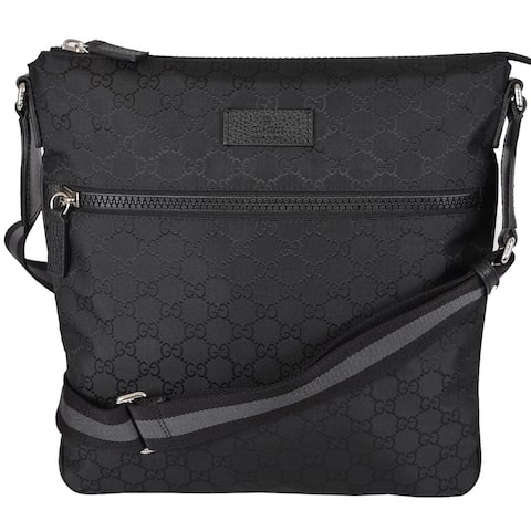 9fb9eafa6394 Gucci 449185 Black GG Guccissima Web Trim Crossbody Messenger Purse Bag