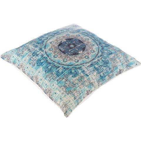 The Curated Nomad Powers Aqua Medallion 26-inch Floor Pillow with Down or Poly Fill