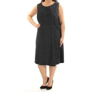 RALPH LAUREN $135 Womens New 1399 Navy Pleated Sleeveless Dress 18W Plus B+B
