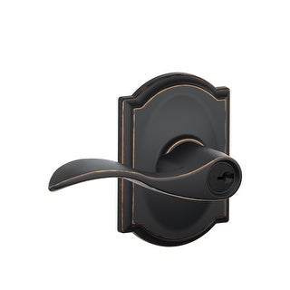 Schlage F51A ACC 716 CAM Accent Lever Keyed Entry X Camelot Rose, Aged Bronze