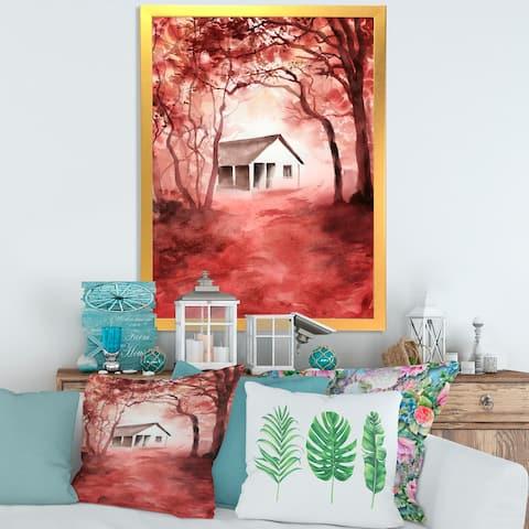 Designart 'House In Red Autumn Woods' Cabin & Lodge Framed Art Print