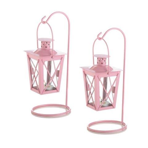 Indoor Pink Railroad Hanging Lanterns - Red