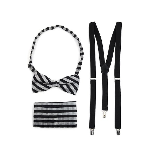 3pc Men's Black Banded Suspenders, Striped Bow Tie and Hanky Sets - One Size Fits most
