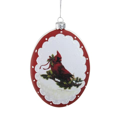 5 White and Burgundy Cardinal with Holy and Berry Glittered Christmas Tree Ornament - N/A