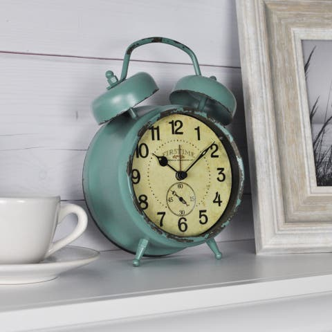 FirsTime & Co.® Teal Double Bell Alarm Clock, American Crafted, Aged Teal, Metal, 5 x 2 x 7 in - 5 x 2 x 7 in