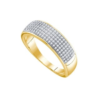 10kt Yellow Gold Mens Round Natural Diamond Band Wedding Anniversary Ring 1/3 Cttw - White