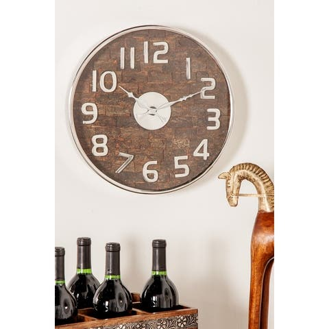 Rustic 18 x 18 Inch Round Stainless Steel Wall Clock by Studio 350