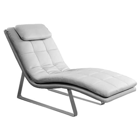 Somette Impala Bonded Leather Lounge With Chrome Finish