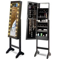 Costway Mirrored Jewelry Cabinet Armoire Organizer Free Standing w/ 18 LED lights Black