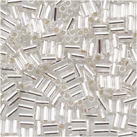 Toho Bugle Tube Beads Size 1 / 2x3mm Silver Line Crystal 8 Grams