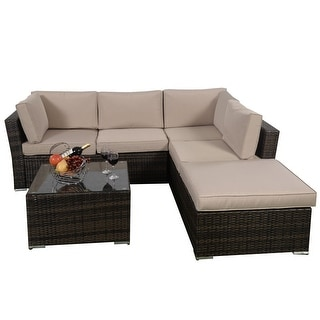 Costway 4PCS Wicker Cushioned Patio Rattan Furniture Set Sofa 5 Seat Garden Lawn