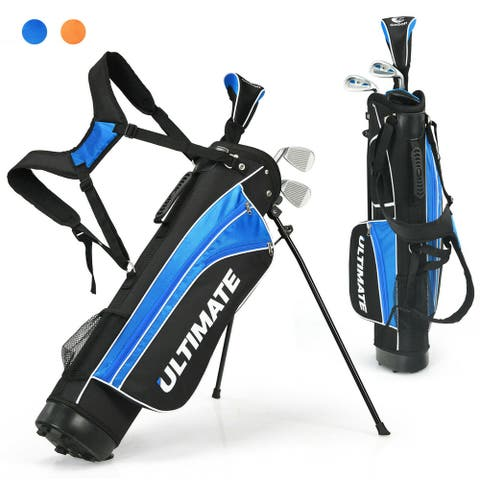 Gymax 31'' Portable Junior Complete Golf Club Set For Kid Age 8& Set Of 5