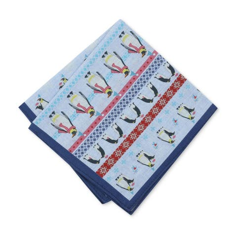 bar III Mens Penguin Pocket Square, blue, One Size - One Size