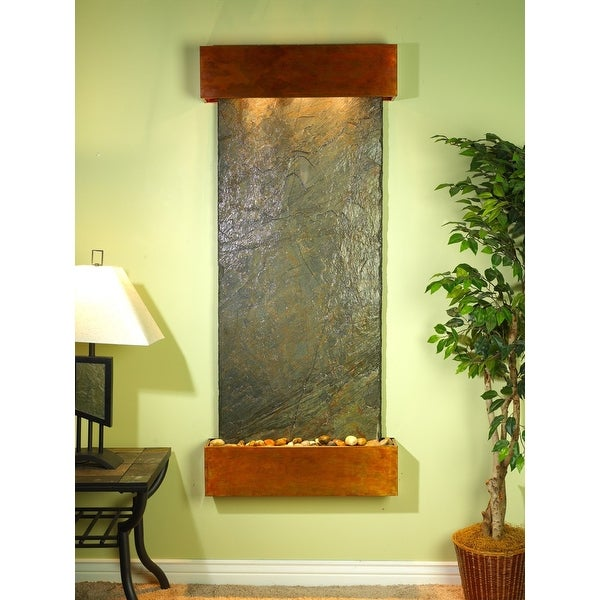 Adagio Inspiration Falls Fountain w/ Green Natural Slate in Rustic Copper Finish