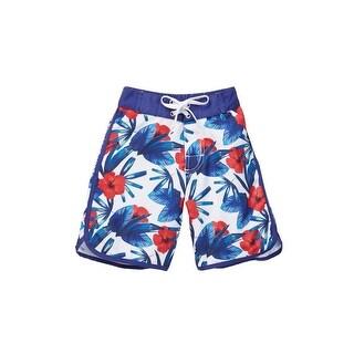 Azul Boys White Red Blue Hawaii Print Back Pocket Swim Shorts