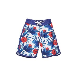 Azul Little Boys White Red Blue Hawaii Print Back Pocket Swim Shorts (3 options available)