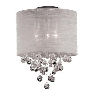 Modern 2-Light Crystal Flush Mount Chandelier With Round Silk Shade