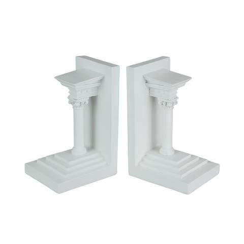 Pair of Museum White Roman Composite Pillar Decorative Bookends - 7.25 X 4.5 X 3.75 inches