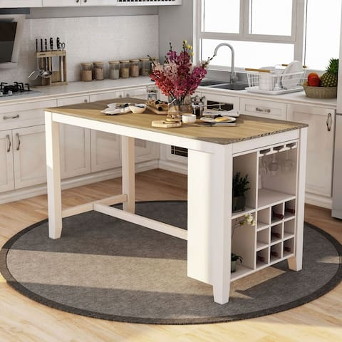 Furniture of America Biaz Rustic White 63-inch Kitchen Island