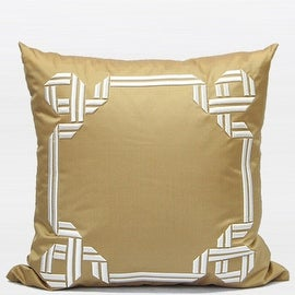 "G Home Collection Luxury Gold Textured Frame Embroidered Pillow 20""X20"""