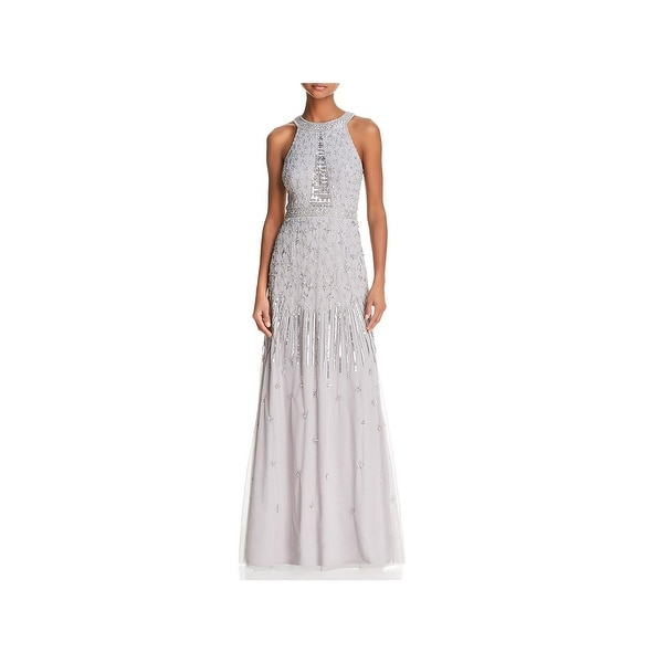 Adrianna Papell Womens Evening Dress Embellished Halter