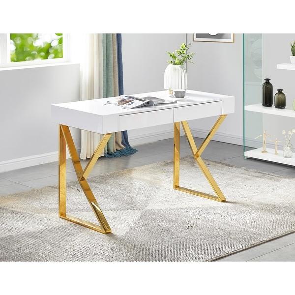 Best Master Furniture White Glossy 2 Drawer Modern Desk. Opens flyout.