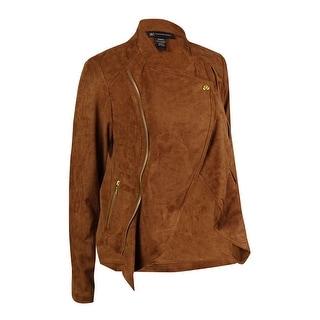 INC International Concepts Women's Faux Suede Draped Jacket - burnt tan