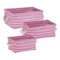 Honey Can Do STO-06688 3-Piece Zig Zag Basket Set, White/Pink