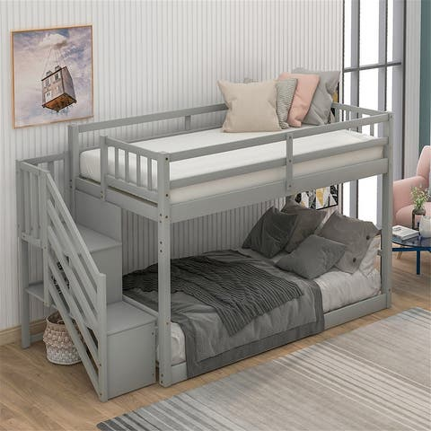 Twin over Twin Floor Bunk Bed, Ladder with Storage