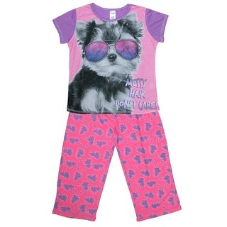 Rene Rofe Girls' 3 Piece Puppy Pajama Set - multi