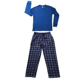 Men Cotton Thermal Top & Fleece Lined Pants Pajamas Set (Blue)