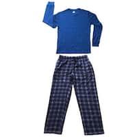 Men Cotton Thermal Top & Fleece Lined Pants Pajamas Set (Blue)