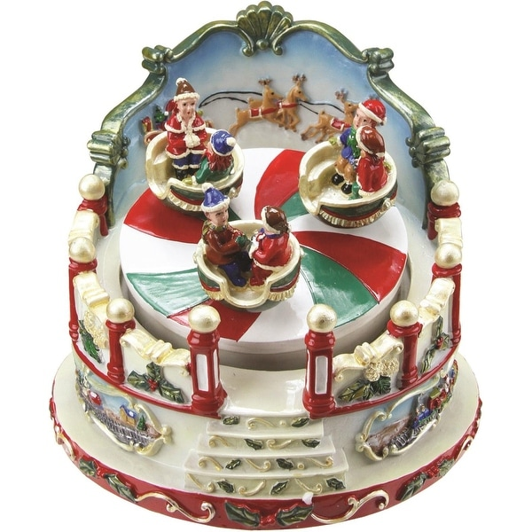 "5"" Animated Christmas Ride Figurine Winter Scene Rotating Music Box"