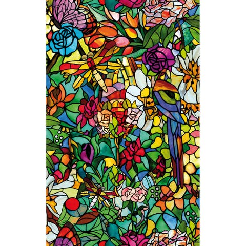 Brewster T346-0647 Spring Chapel Twin Pack Peel and Stick Floral Vinyl Window Film -
