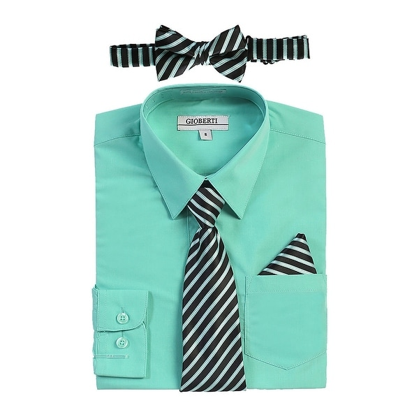 4047b3790033 Shop Gioberti Little Boys Mint Shirt Necktie Bow Tie Pocket Square 4 Pc Set  - Free Shipping On Orders Over $45 - Overstock - 21130288