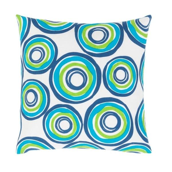 "22"" Blue Bird, Parrot Green, and White Woven Decorative Throw Pillow"