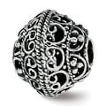 Sterling Silver Reflections Antiqued and Polished Cut-out Bali Bead (4.5mm Diameter Hole) - Thumbnail 0