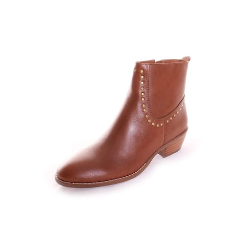Coach Womens Eva Stacked-heel Booties Leather Almond Toe Ankle Fashion Boots