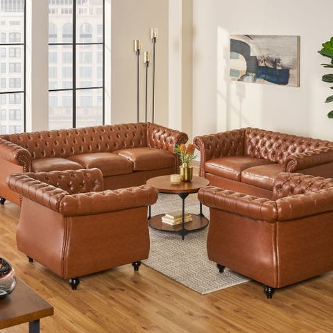 Silverdale Traditional Chesterfield 4 Piece Living Room Set by Christopher Knight Home