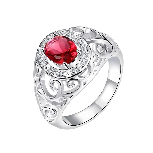 Curved Classic Crystal Stone Love Ring
